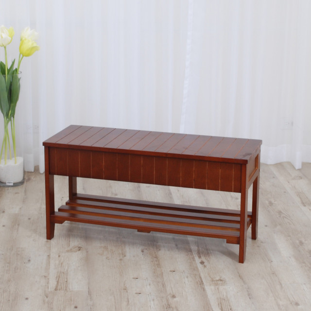Walnut Finish Solid Wood Storage Shoe Bench Shelf - Contemporary - Accent And Storage Benches ...