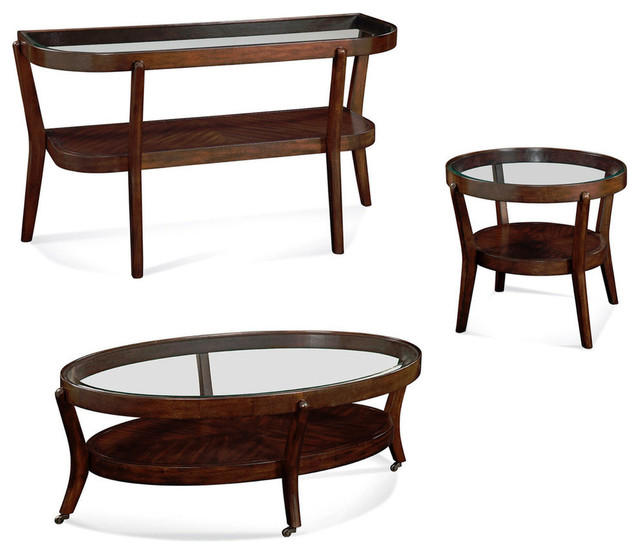 Houzz Black Coffee Table: Bassett Mirror Priazzo 3 Piece Oval Glass Cocktail Table