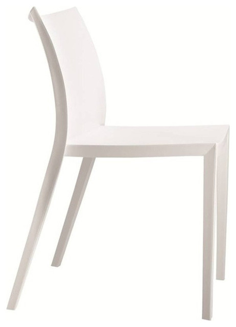 Angles Plastic Dining Chair White Contemporary Dining