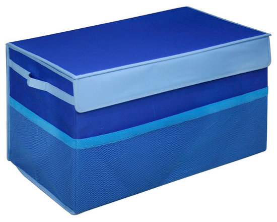 Great Useful Stuff - Kids Collapsible Toy Box, Blue, Large - There are enough heavy things in life, toy chests shouldn't be one of them. Kids don't need to lug around heavy wooden toy boxes. Neither do Moms and Dads. These collapsible toy storage bins are light and easily portable. Yet, the Kangaroom Collapsible Toy Boxes are strong enough that you can jam-pack them with toys. And you won't be searching for those smaller toys at the bottom of the bin. These toy storage bins have see-through mesh side pockets for quick access to cards and crayons. Kangaroom Collapsible Toy Boxes are constructed with lightweight side handles for convenient carrying. Velcro tabs keep these toy storage bins sealed. And Kangaroom Collapsible Toy Boxes are stackable - two small collapsible toy storage bins stack on top of one large bin. The Kangaroom Collapsible Toy Boxes fold flat. Keep this collapsible toy storage out of sight when not in use. Now, if only these toy storage bins would pick up the toys for you!