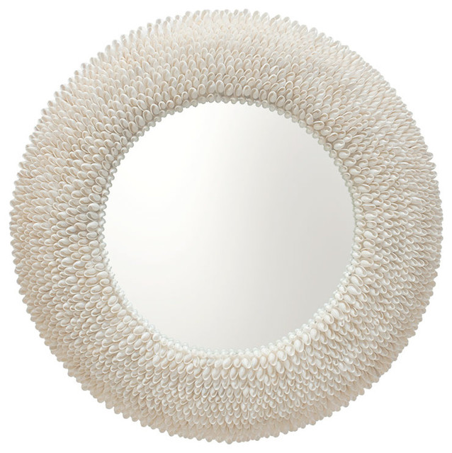 Round Bubble Seashell Wall Mirror - beach style - mirrors - by KOUBOO