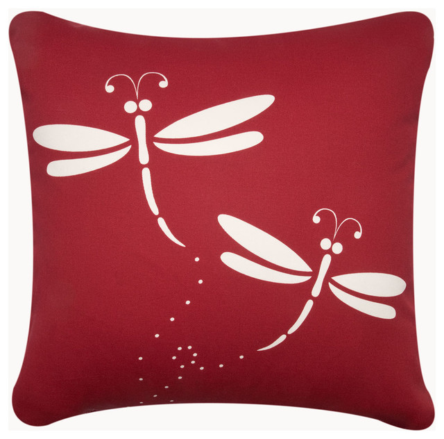 Throw Pillow With Dragonfly : Dragonfly Garden Throw Pillows - Modern - Decorative Pillows - san diego - by Wabisabi Green