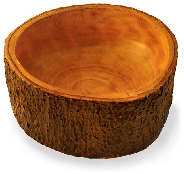 Mango Wood Salad Bowl With Bark Transitional Dining