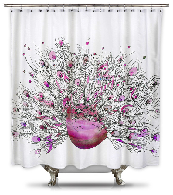 Catherine Holcombe Pink Peacock Fabric Shower Curtain
