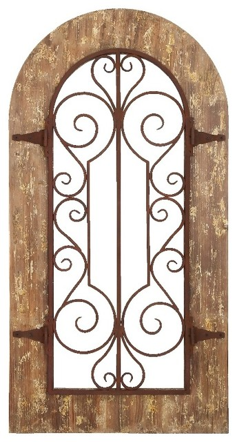 arch shape wood metal wall panel stately includes scroll. Black Bedroom Furniture Sets. Home Design Ideas