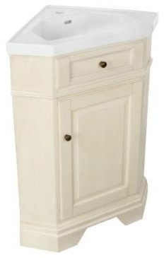 Pegasus Richmond 26 In Corner Bathroom Vanity In Parchment With Vitreous China Contemporary
