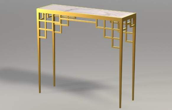Manhattan Console With Inset Marble asian-indoor-pub-and-bistro-tables