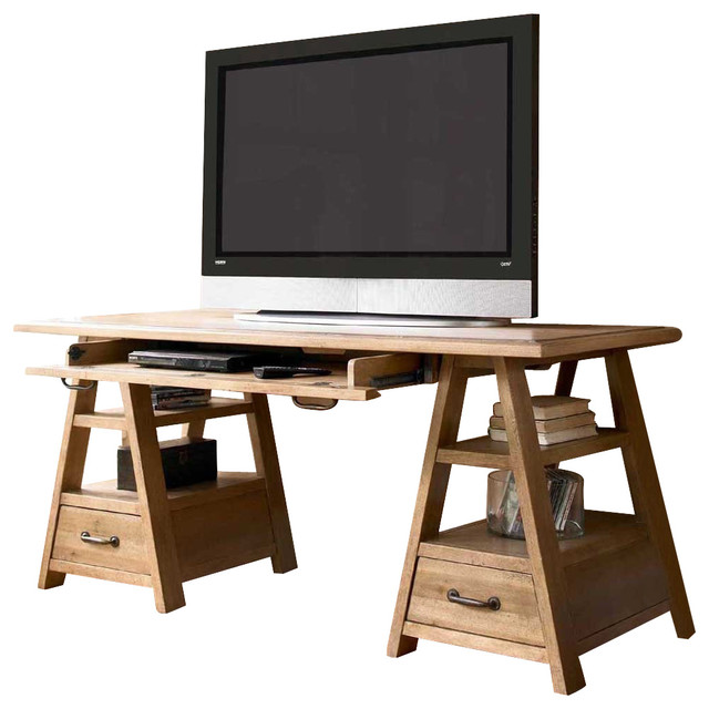 Universal Furniture Paula Deen Down Home Saw Horse Work Table in Oatmeal - Traditional ...