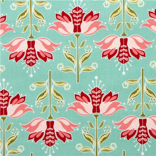 turquoise Riley Blake fabric with pink flowers - Fabric - by ModeS Group Ltd