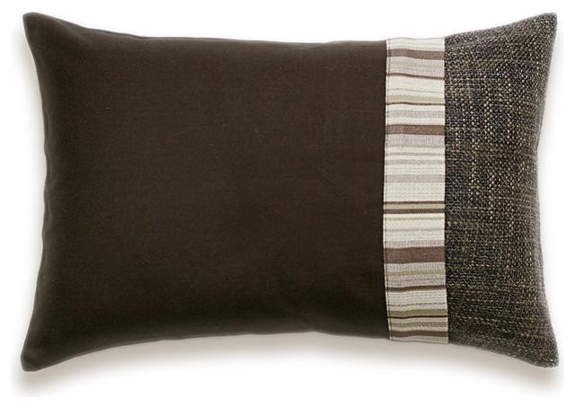 Decorative Pillow And Throw Sets : Dark Chocolate Brown Beige Stripe Lumbar Decorative Throw Pillow Case 12 x 18 in