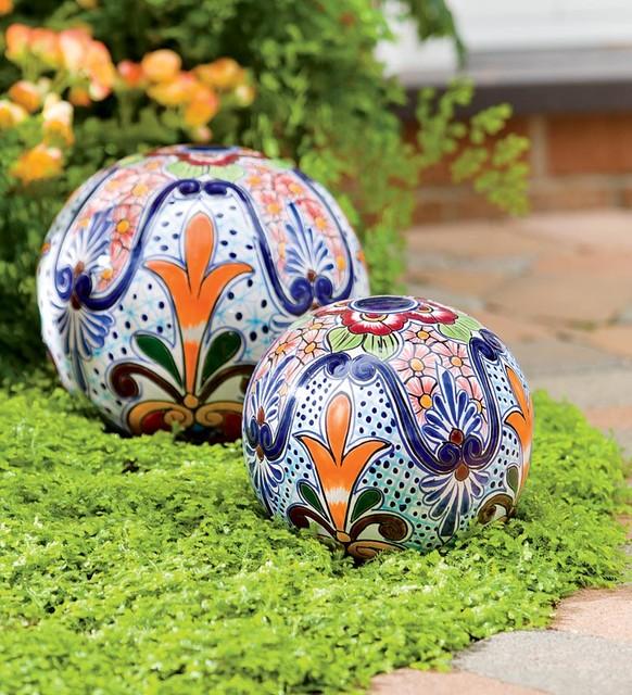 Handmade Talavera-Inspired Ceramic Globes contemporary-garden-sculptures