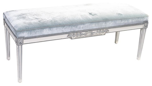SOLD OUT!   Louis XVI Style Pale Blue Mohair Bench - $2,100 Est. Retail - $840 o eclectic-benches