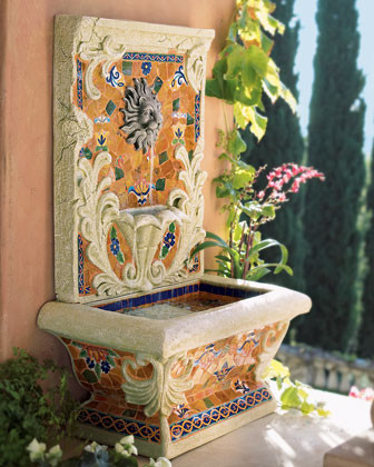 """""""Royal"""" Tabletop Mosaic Fountain traditional-outdoor-fountains-and-ponds"""