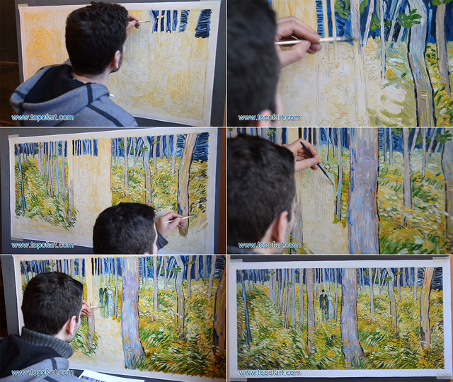 Undergrowth with Two Figures | van Gogh | Painting Reproduction artwork