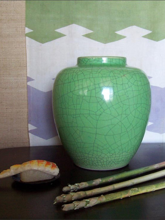 Asian Crackle Glaze Vase - This Asian Flavored Apple Green Vase Adds a Zing of Color to a Room.