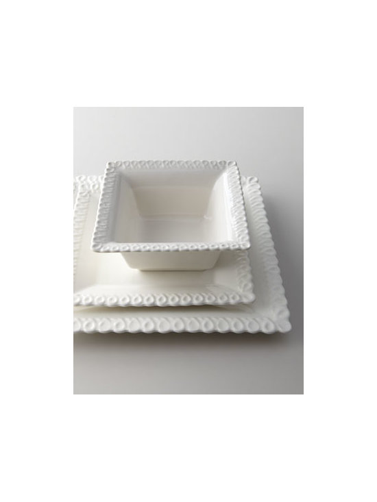"Horchow - 12-Piece ""Alcoa"" Square Dinnerware Service - A departure from the norm, this dinnerware features a delicate lacy loop edge and a square shape. Handcrafted of earthenware. Dishwasher and microwave safe. Service includes four three-piece place settings. Each place setting includes a 10.25""Sq. di..."