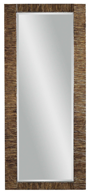 Rattan Rectangle Wall Mirror Traditional Mirrors By