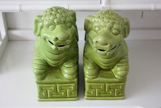 Pair of Extra Large Lime Green Greek Key Foo Dogs by The Stylish Home asian-accessories-and-decor