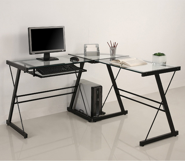 l shape glass corner computer desk contemporary desks and hutches by. Black Bedroom Furniture Sets. Home Design Ideas