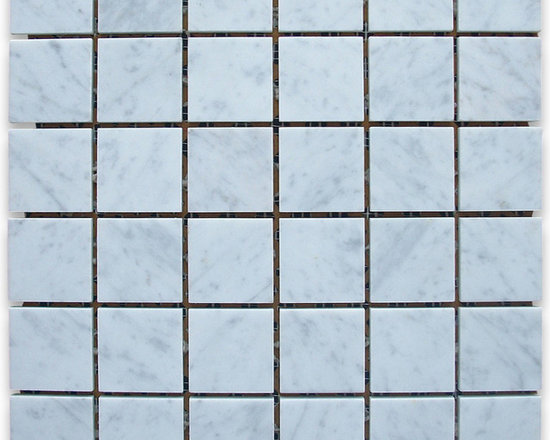 """Stone Center Corp - Carrara Marble Square Mosaic Tile 2x2 Honed - Carrara white marble 2"""" x 2"""" square pieces mounted on 12"""" x 12"""" sturdy mesh tile sheet"""