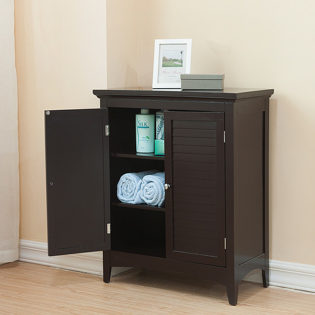 Bayfield dark espresso double door floor cabinet for Bathroom storage cabinets floor