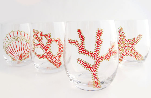 Hand Painted Sea Motif Coral/Gold Glassware, Set of 4 tropical-everyday-glassware