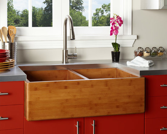 "Fresh Farmhouse Sinks - 33"" Double Bowl Bamboo Farmhouse Sink"