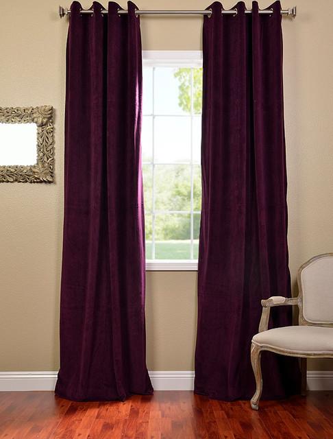 Eggplant Grommet Velvet Blackout Curtain Contemporary