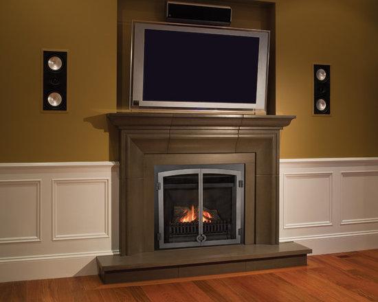 Horizon Series Fireplace - Horizon FenderFire Double Door (610FVI) with Solus Decor Mantel.