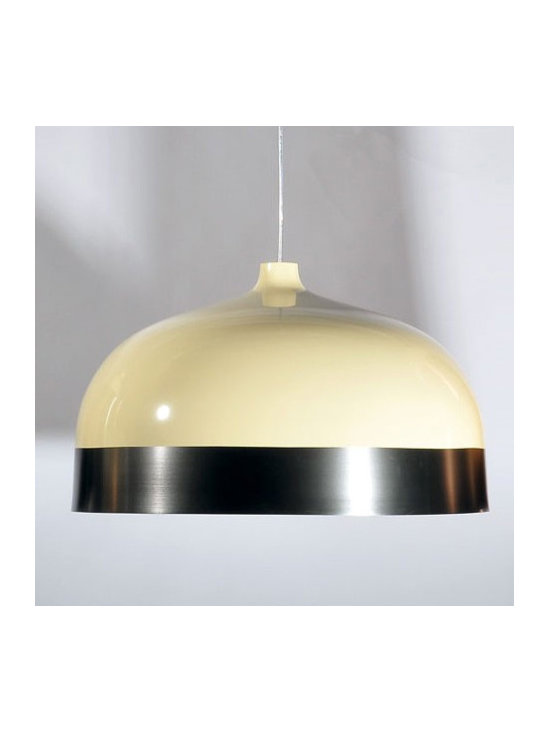 Innermost - Glaze 33 Pendant - The Glaze 33 Pendant features a Charcoal Shade and a Cream finish. One 100 watt 120 volt A19 type medium base bulb is required, but not included. 13 inch diameter x 8 inch height. Cable is included for a maximum overall length of 165.5 inches.