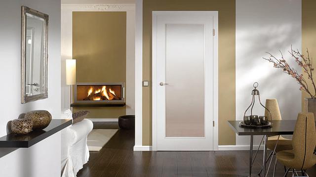 Wood Doors Townhome Modern Living Room Miami