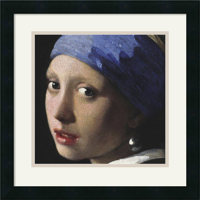 Girl with a Pearl Earring (detail) Framed Print by Johannes (Jan) Vermeer traditional-prints-and-posters