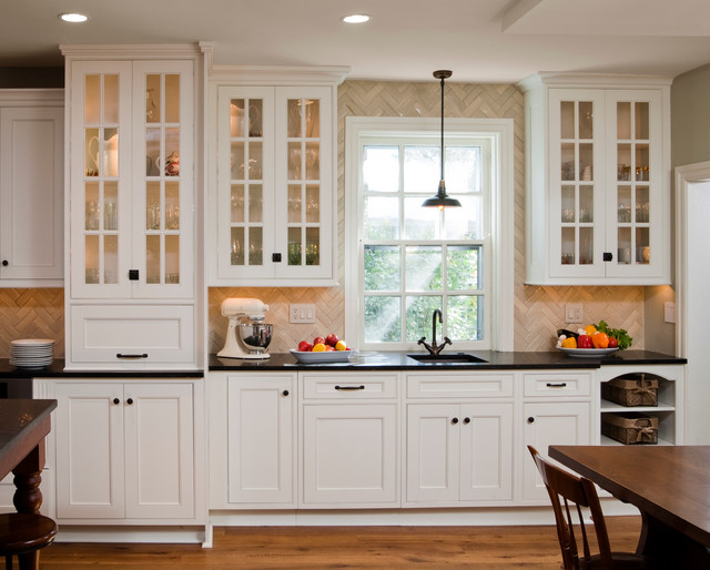 Herringbone Creme Kitchen Tile Traditional Tile By