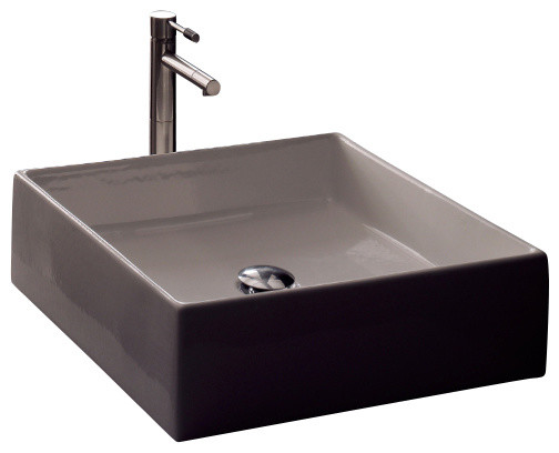 Square White Ceramic Vessel Sink contemporary-bathroom-sinks