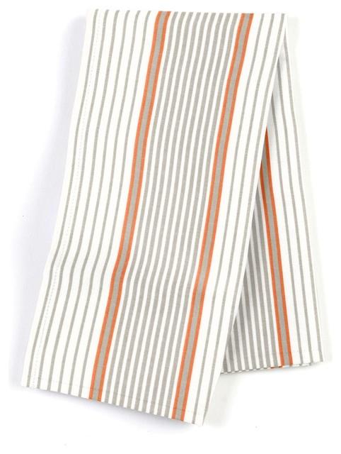 Gray & Orange Optical Stripe Custom Napkin Set modern-table-linens