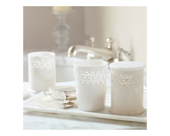 Serena & Lily - Jali Marble Vanity Canisters  Set of 3 - It's the little luxuries that elevate an everyday space to five-star status. Hand carved by Indian artisans, the intricate filigree adds beautiful texture to smooth marble. Set includes two canisters with lids and one open canister.