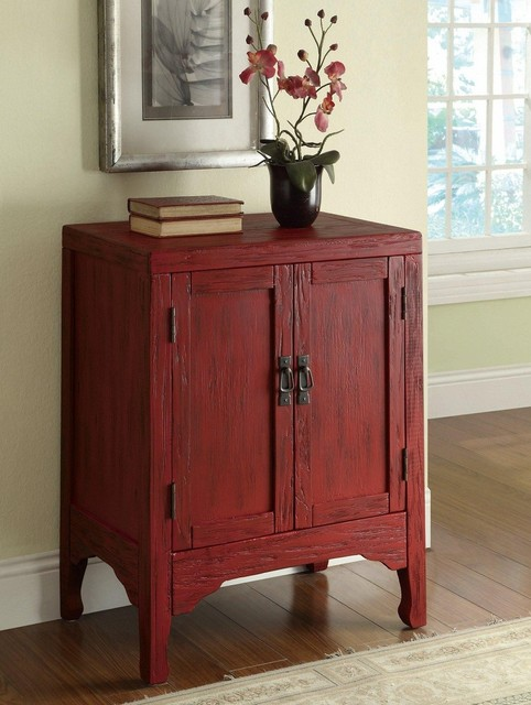 Rustic Red Accent Cabinet with 2 Doors - Traditional ...