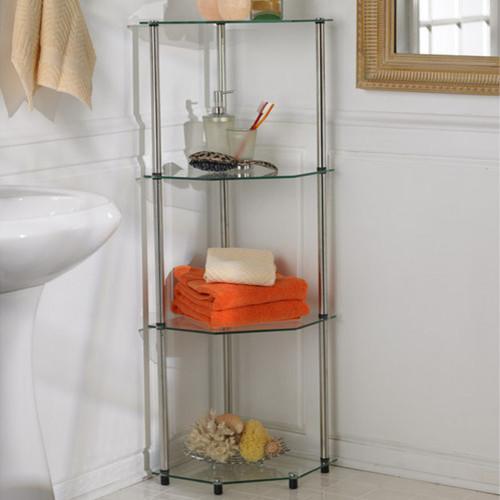 classic glass four tier corner shelf modern bathroom. Black Bedroom Furniture Sets. Home Design Ideas