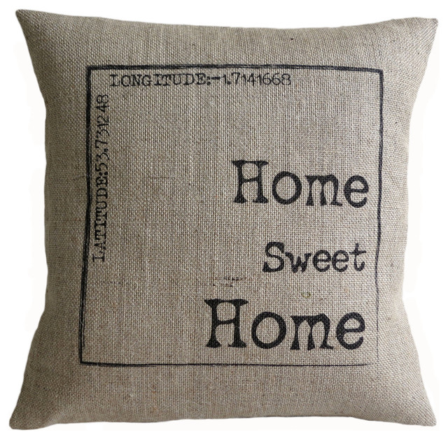 ... Home Sweet Home Burlap Pillow Cover - Contemporary - Home Decor - by