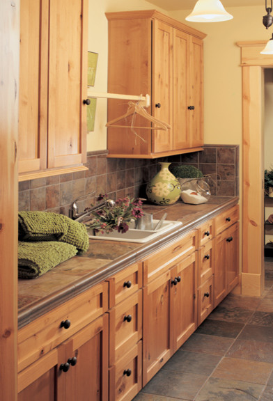 Canyon Creek Cornerstone - Shaker in Rustic Alder in a Honey stain - Traditional - Laundry Room ...