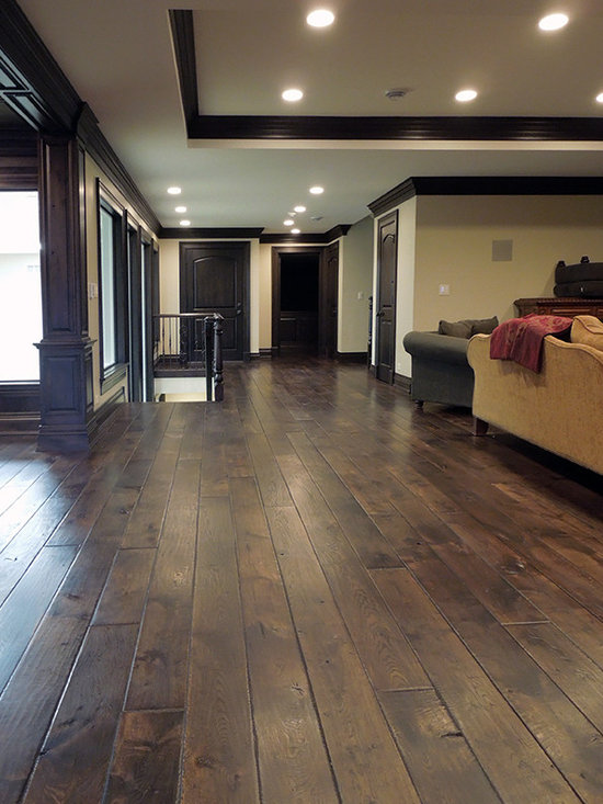 "Private Residences - Victorian™ Collection 7-1/4"" European French Oak hardwood floor, hand scraped, hand beveled, hand distressed, dyed and stained in custom Vanee Walnut clolor, triple hardwaxed"