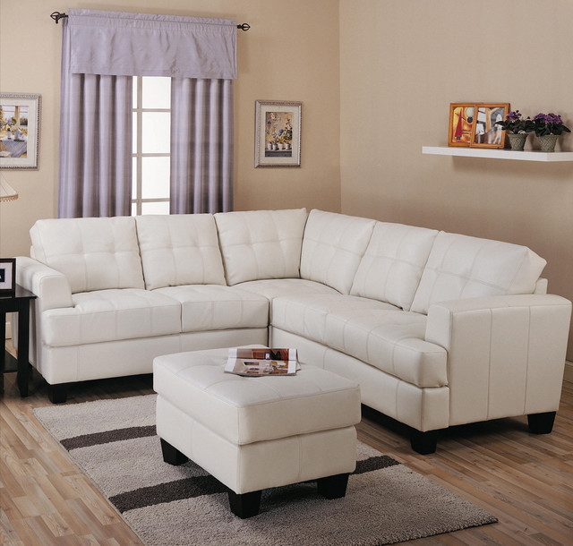 Toronto Tufted Cream Leather Corner Sectional Sofa By True Contemporary Con