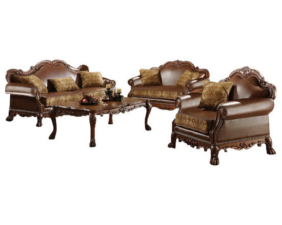 """Acme - 2-Piece Dresden Collection Two Tone Chenille Fabric and Leather-Like Sofa Set - 2-Piece Dresden collection two tone chenille fabric and leather like upholstered sofa and love seat with wood trim accents. This set includes the sofa and love seat with two tone chenille fabric and leather like upholstery with decorative carving accents and nail head trim. Sofa measures 87"""" x 42"""" x 43"""" H. Love seat measures 61"""" x 42"""" x 43"""" H. Optional chair also available separately and chair measures 42"""" x 42"""" x 43"""" H. Some assemble may be required (attachment of feet)."""