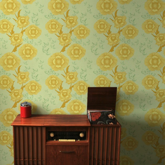 PoppyFlower Yellow Wallpaper traditional wallpaper