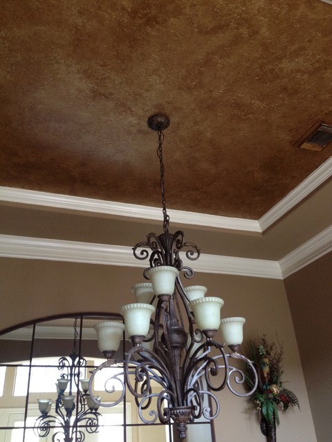 Metallic ceiling traditional houston by brush and quill for Dining room tray ceiling paint ideas