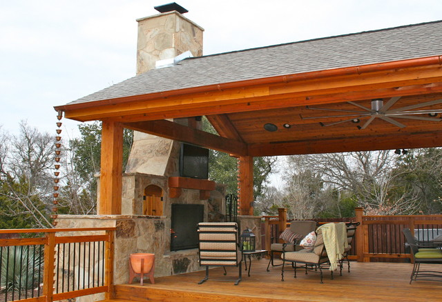 Outdoor Fireplaces traditional-deck