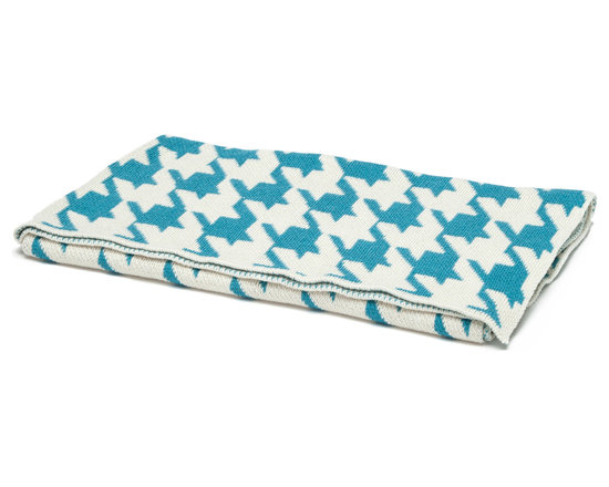 "in2green - Eco Baby Houndstooth Throw, Aqua/Milk - Our throws are all knit in the USA with a blend of recycled cotton yarn (74% recycled cotton yarn, 24% acrylic, 2% other), generously sized at 50"" x 60"" and machine wash and dry...how easy is that!"