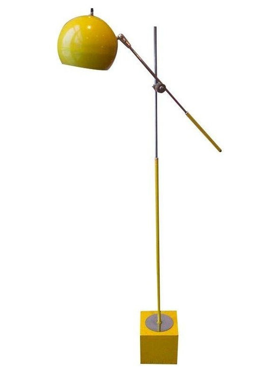 Pre-owned George Kovacs Bright Yellow & Chrome Floor Lamp - An extremely rare chrome and yellow George Kovacs standing globe lamp with fully refurbished electrical cords. Some minor scratches and dents, as shown in the photos, but otherwise in excellent condition and perfect working order. The mid-century modern, funky fresh pop of color you've been looking for!