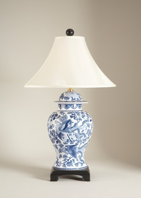 blue and white porcelain temple jar table lamp asian table lamps. Black Bedroom Furniture Sets. Home Design Ideas