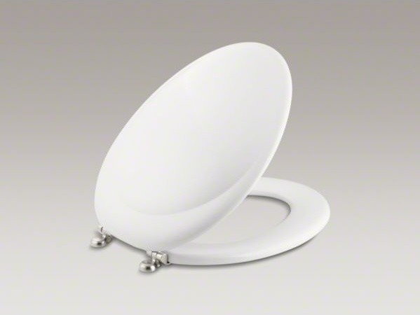 KOHLER Revival(R) elongated toilet seat with Vibrant(R) Brushed Nickel hinges contemporary-toilet-accessories